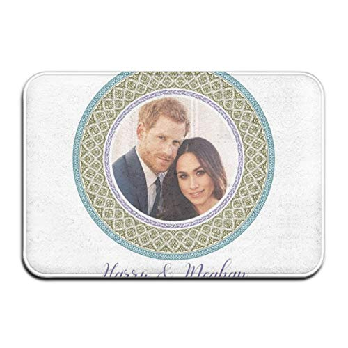 XJ-JX Door Mat 16 X 24 Inch Green Harry and Meghan Royal Wedding Decorative Plate Water Absorbent Low-Profile Mud Mat Non Slip Large Door Rug