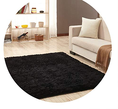 Super Soft Silk Wool Rug Indoor Modern Shag Area Rug Silky Rugs,Black,50X80cm