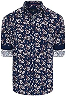 Tarocash Men's Garcia Floral Print Shirt Regular Fit Long Sleeve Sizes XS-5XL for Going Out Smart Occasionwear