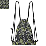 Floral Printed Drawstring Backpack Vintage Foliage Ornate Motif with Swirling Leaves Doodle Style