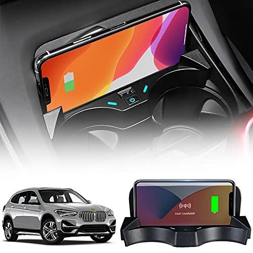Cargador Inalámbrico Coche Auto Compatible con BMW X1/X2 2016 2017 2018 2019 2020 2021 Consola Central Panel 15W Carga Rápida Auto Teléfono Cargador con QC3.0 USB Puerto para iPhone Samsung