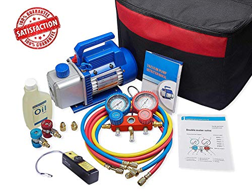 NewPosition 4CFM 1/3HP Air Vacuum Pump HVAC A/C Refrigeration Tool Kit AC with Leak Detector, Auto Repair Equipment, Manifold Gauge Set(R134A R22), 3 Hoses, Ideal for Food Packaging,Milking,Medical et