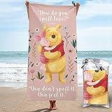Toalla de playa de microfibra Winnie-The-Pooh, de secado rápido, superabsorbente, grande, grande, para viajes, piscina, baño, camping, yoga, deportes, 31.5 x 63 pulgadas