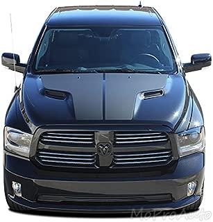 MoProAuto Pro Design Series RAM HEMI Hood Graphic : 2009-2018 Dodge Ram Split Center Hemi Style Hood Vinyl Graphic Decal Stripes (FITS HEMI Models) (Color-3M 5095 Matte Black)
