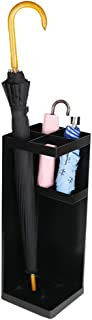Yxsd Umbrella Stand Umbrella Rack Metal Free Standing Holder, for Canes/Walking Sticks, with Drip Tray, 20 cm X 50 cm,Square (Color : Black)