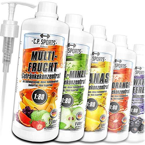 C.P. Sports Konzentrat zuckerfrei 1:80 (ca. 80 Liter Fertiggetränk) + Dosierpumpe – Getränkekonzentrat Getränkesirup Fitness Sport Getränk – L-Carnitin & Vitamine – 1 Liter Tropical