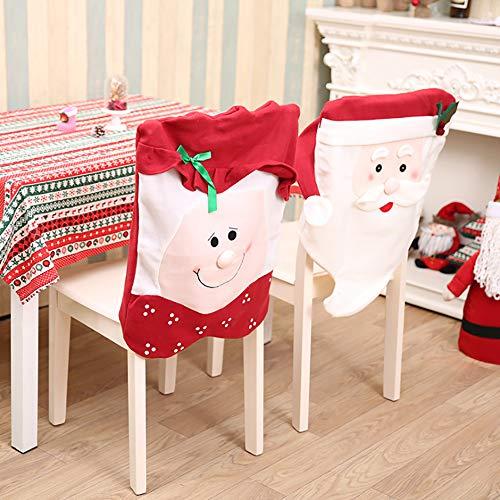caicainiu Weihnachtsstuhlhussen Dekor, Weihnachtsmannmütze, rote Schneeflocke, Stuhlhussen für Küche, Esszimmerstuhl, Schonbezüge, Sets für Weihnachten, Feiertage, festliche Dekorationen
