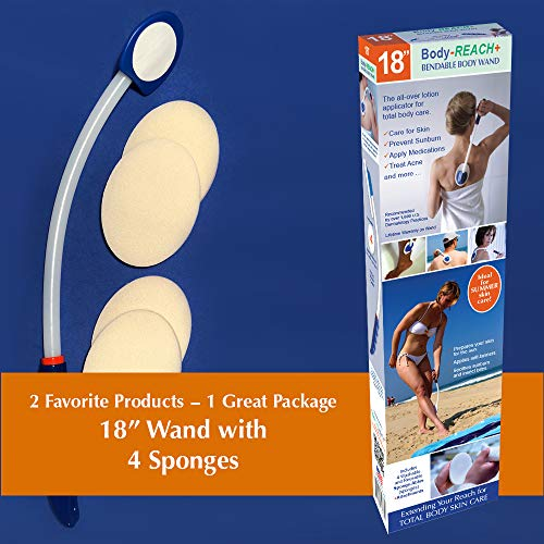 18' Semi-flex Body-Reach+ Bendable Unbreakable Lotion Applicator includes (4) Sponges