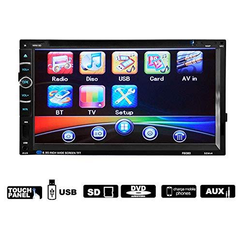 Mengen88 auto DVD MP5 speler, 6,95 inch dubbel-Din HD Touchscreen Universal Car Audio Auto Stereo Ondersteuning Bluetooth handsfree functie