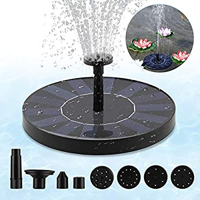 Upgraded Solar Fountain Pump for Bird Bath with 6 Replaceable Nozzles, Portable Solar Powered Water Fountain Pump Free Standing Floating for Outdoor Pond Pool Garden Fish Tank Aquarium Backyard
