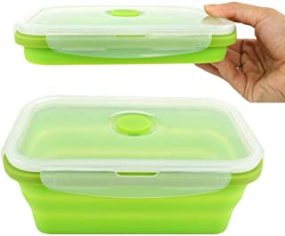Silicone Lunch Box Leak Proof Collapsible 800ML Food Storage Meal Prep Container, BPA Free, Microwave Oven Dishwasher Freezer Safe, 1 Pack