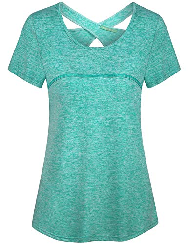 Kimmery Workout Shirts for Women, Green Compression Top Scoop Neck Sexy Charming Open Back T-Shirt Fast Dry Sweat Absorbing Trendy Summer Tunics Lounging Beach Volleyball Athleisurewear XL