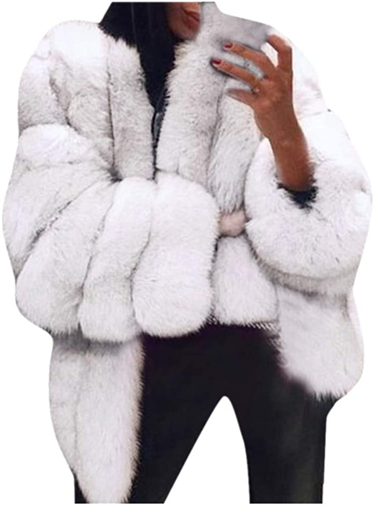DIOMOR Casual Oversized Fur Pea Coat for Women Retro Thick Warm Fleece Overcoat Winter Plus Size Wool Fuzzy Outerwear