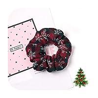 クリスマススノープリントヘアシュシュ女性のためのクリスマスの弾性ヘアバンドヘアバンドヘアタイアクセサリーポニーテールホルダー-Deep Blue-