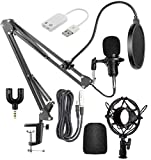 Professional condenser microphone is perfectly suitable for studios, recording studios, broadcasting, stage performance. It's suitable for laptop or desktop computers with 3.5mm audio jack. Noise Cancellation: Records Voice with noise cancellation fe...