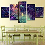 Decor Wall Canvas Pictures Printing 5 Pieces Butterfly Firefly Mushroom Cartoon Forest Night Scene Paintings Modular Posters Art 40x60 40x80 40x100cm No Frame