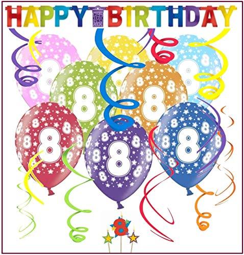 Libetui Geburtstag Dekoration Set 'Stern' Kindergeburtstag Happy Birthday Banner Girlande Spiralen Luftballons und Geburtstags-Kerzen für den 8. Geburtstag