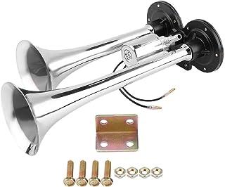Flat Base Weather Resistant Silver Truck Air Horn, Dual Trumpet Air Horn, for Train Car