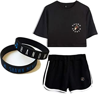 Shawn Mendes T-Shirt Suit Couple Wristband Gift Concert Tee Music Short Sleeve Fashion Print Bracelet Navel Mix Colours/F/S