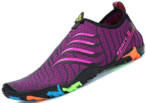 katliu Zapatos de Agua para Hombre Mujer Calzado de Natación Escarpines para Deportes Acuáticos Buceo Snorkel Surf Piscina Playa Vela Mar Río Aqua Cycling,Morado 39