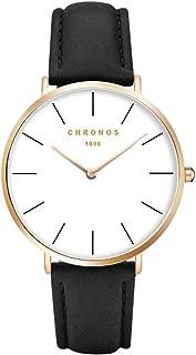 Chronos Simple Men Slim Thin Quartz Leather Watch Large Face Rose Gold Silver Minimalist Watch