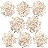 Tovagliette in PVC, set da 8 tovagliette all'americana in PVC, lavabili, resistenti al calore, ideali per Natale, matrimoni, decorazioni in oro rosa