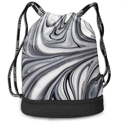Printed Drawstring Backpacks Bags,Mix of White and Black Hallucinatory and Surreal Liquid Marble Figures Graphic Artwork,Adjustable String Closure