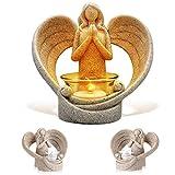 Betender Engel Figur Kerzenhalter, flammenlose LED Kerze Schutzengel Flügel Skulptur Statue Trauer Geschenk für Zuhause Hochzeit Weihnachten Kirche Votivkerze Licht
