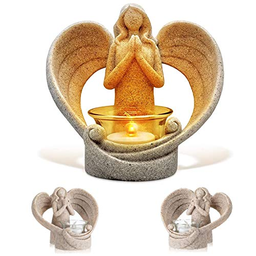 Praying Angel Figurine Candle Holder, Flamless LED Candle Guardian Angel Wings Sculpture Statue, Sympathy Gift for Home Wedding Christmas Church Votive Candle Light