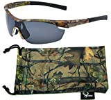 Hornz Brown Forest Camouflage Polarized Sunglasses for Men Wrap Around Sport Frame & Free Matching Microfiber Pouch – Brown Camo Frame - Smoke Lens