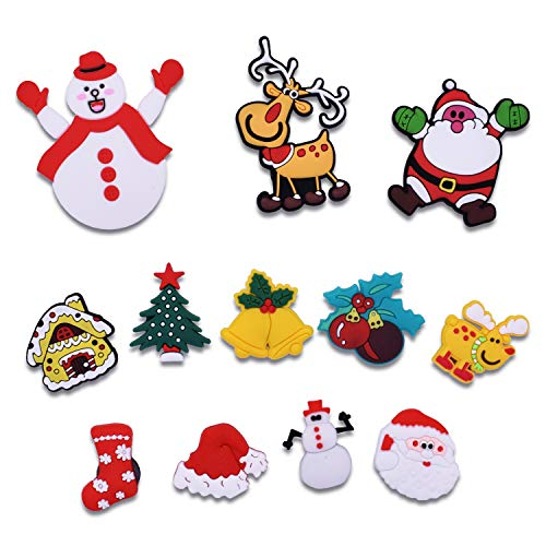Christmas Stant Claus Christmas Tree Socks Deer Snowman Bell Magnets Refrigerator Fridge Magnetic Funny Stickers Home Decor for Refrigerator Office Cabinets Whiteboards Photo Decorative12PCS