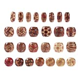 Kissitty 300pcs Natural Printed Wooden Beads Round & Oval Shapes Dreadlock Beads for Jewelry Making DIY Bracelet Necklace Hair Crafts