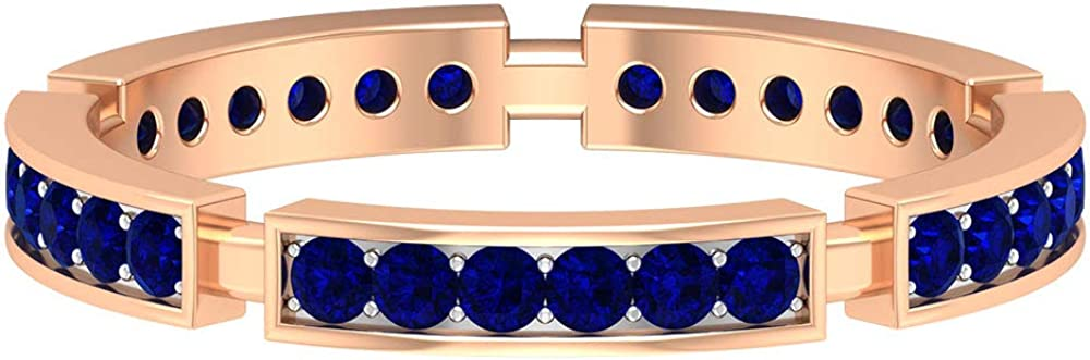 1/2 CT Lab Created Blue Sapphire Band Ring, Wedding Eternity Band, Gold Anniversary Ring (AAAA Quality), 14K Gold