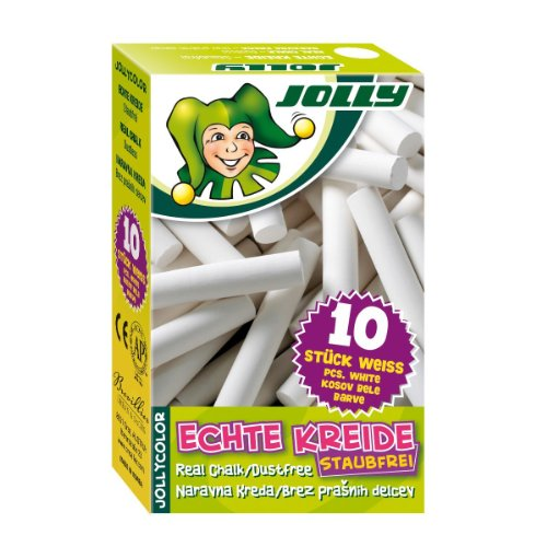 Jolly 8300-0001 Color Tafelkreide Kreide, in Kartonschachtel, weiß (10er Pack)