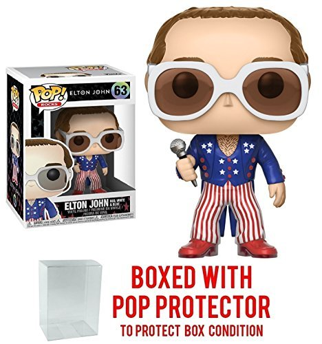 Funko Pop Rocks: Elton John - Red, White, and Blue Vinyl Collectible Figure + Pop Protector