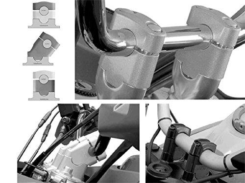 SW-Motech Motorrad Lenkererhöhung für Yamaha FJR 1300 Erhöhung um 27 mm Silber