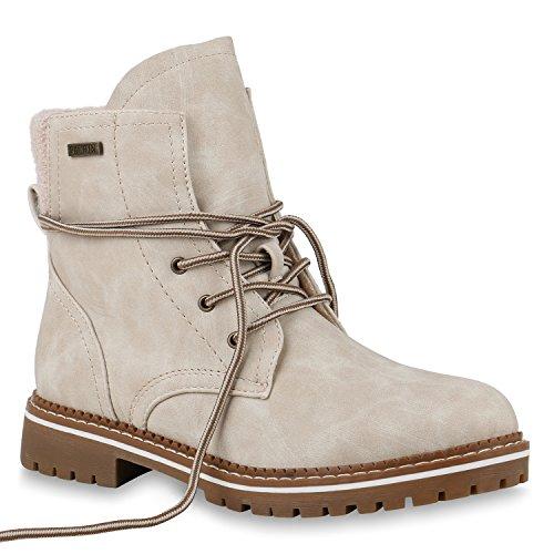 Damen Worker Boots Leicht Gefütterte Outdoor Stiefeletten Schuhe 147448 Creme 39 Flandell