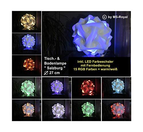 """Bodenlampe Tischlampe Kugellampe """" Salzburg """" Größe 27 cm, inkl. 15 RGB Farben LED Farbwechsler + warm/weiß, im Retro Stil der 70er/80er Jahre"""