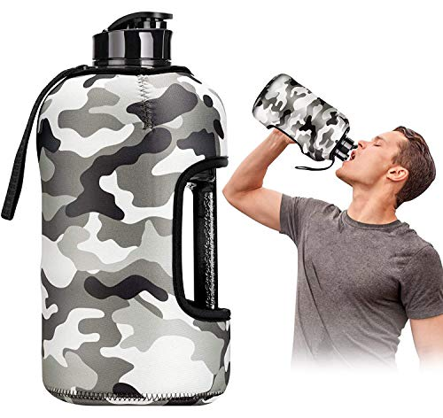 Kaptron Gym Water Bottle with Case - Bodybuilding Water Bottle - Strong Durable 2.2 Litre Water Bottle with Handle - BPA Free Large Half Gallon Sports Water Bottles (Camouflage)