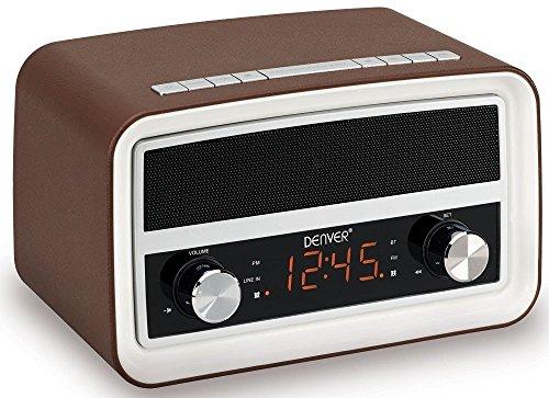 Denver-CRB 619–Radio-réveil Radio-réveil PLL-FM écran LCD 1,5'(0,6 cm), entrée aux bluetooh (Marron)