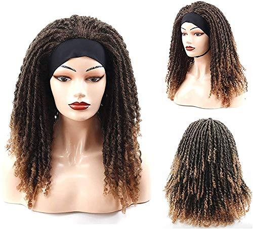 Pelucas Pelucas de crochet trenzas pelucas rizadas para mujeres negras afro rizado pelucas rizadas cortas black dreadlocks diadema peluca envoltura turbante bufanda pelucas cordón rojo (color: rojo)