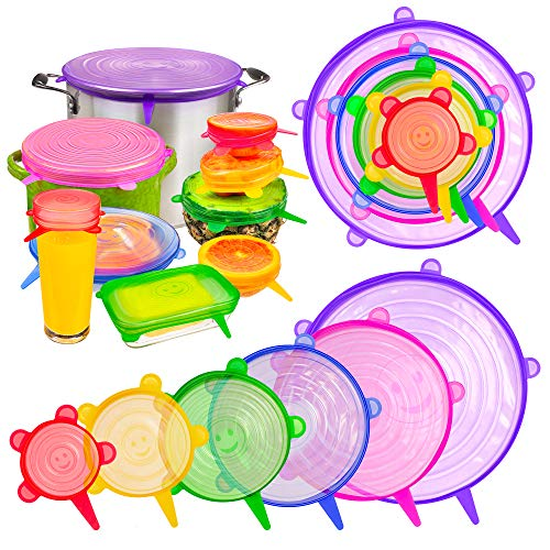 12 x Silicone Stretch Lids by ByoBear | Multi-Coloured Silicone Lids Food Covers Set | Reusable, Plastic Bowl & Glass Food Container Lids | Dishwasher, Freezer & Microwave Safe Food Plate Covers