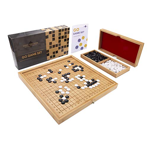 Ishin-Denshin Go Board Game - Rustic Wooden Set for The Chinese Strategy Game - Traditional 19x19 Game Board Made of Sustainable Bamboo - with Instruction Manual