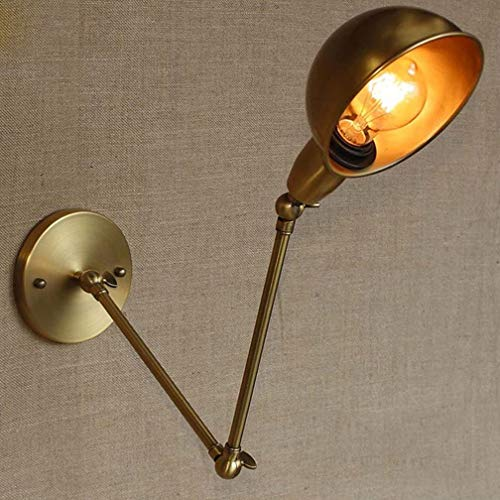 E27 Industriel Vintage Applique Murale avec Réglable Tête Long Bras Réglable Tournant Métal Fer Lampe Murale Edison Design Luminaire Lampe de Chevet Intérieur Lampe Éclairage de Chambre En Laiton