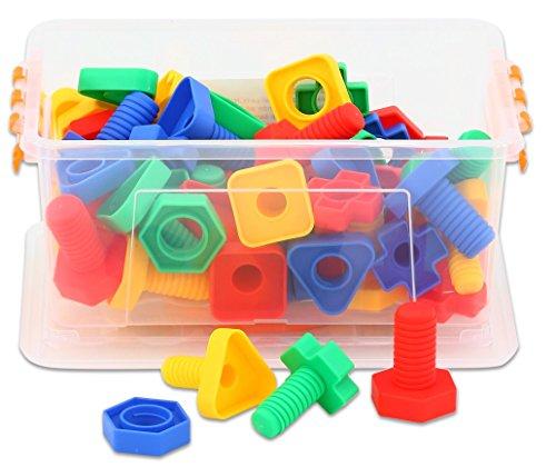 Betzold 41250 - Buntes Schrauben-Spiel 64-TLG. Steck-Spiel Kinder-Spielzeug Werkzeug