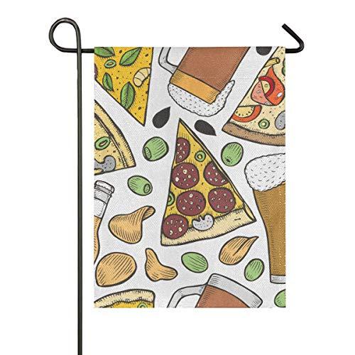 SUHETI Patrón Sin Fisuras Fondo con Cerveza Pizza Viejo,Bandera de Doble Cara de, Bandera de Hogar Decorativa 30.5x45.7cm