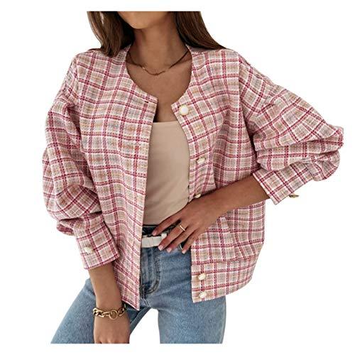 Abrigo de Primavera de Moda y cómoda Mujeres Spring Jacket Plaid Tweed Jackets Mujeres O-Cuello Soporte Manga Oficina Lady Coat Pearl Button Blusa Jailets Flowets Outerwear (Color : Pink, Size : S)