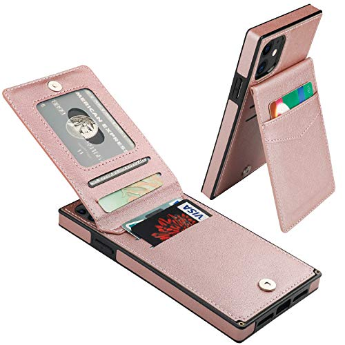 Vaburs iPhone 11 Wallet Case Card Holder Kickstand PU Leather Full Body Shockproof Protection Cover for iPhone 11 6.1 Inch(Rose Gold)