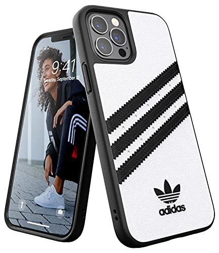 adidas Hülle Entwickelt für iPhone 12 / iPhone 12 Pro 6.1, Fallgeprüfte Hüllen, stoßfeste erhöhte Kanten, Original Formgegossene Schutzhülle, Weiß/Schwarz