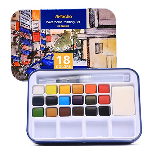 Artecho Watercolor Painting Set with 18 Vibrant Colors, Including Water Brush Pen, Sponge and Blank Color Chart in Watercolor Paper, Lightweight and Portable Tin Case, Perfect for Gift